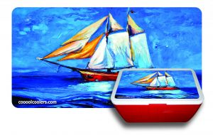 Sailboat Oil Paint 3 - Blue Cooler